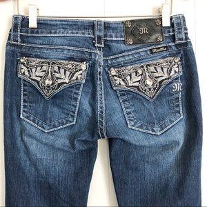 Miss Me JP5909B2 boot cut medium wash sequin jeans
